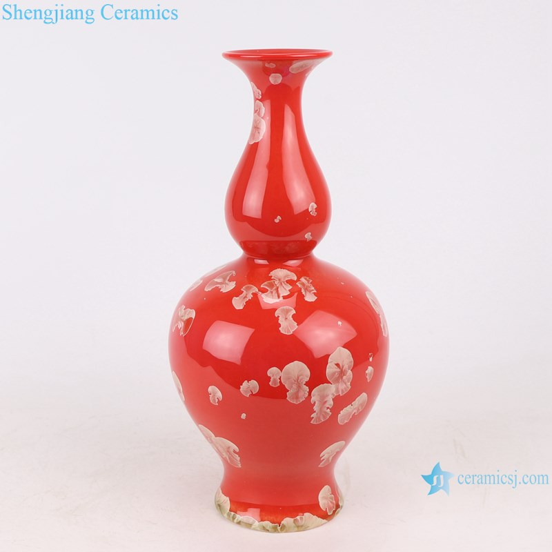 RZCU16 Ceramic vase with crystallized glaze red background room decoration