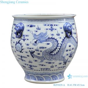 RZFH29-A Blue and white lion head double dragon play bead dragon grain big ceramic pot