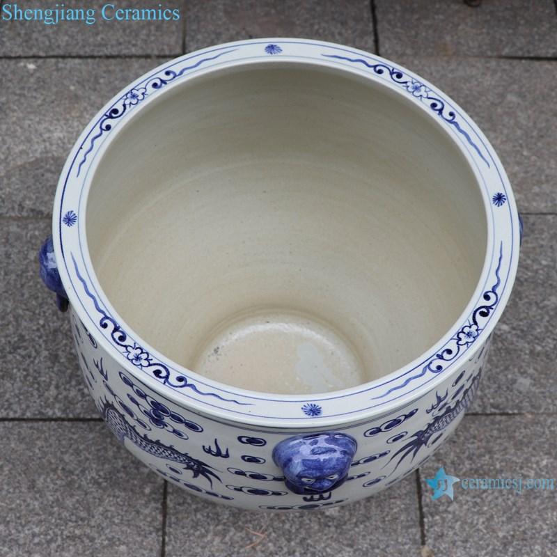 RZFH29-A Blue and white lion head double dragon play bead dragon grain big ceramic pot