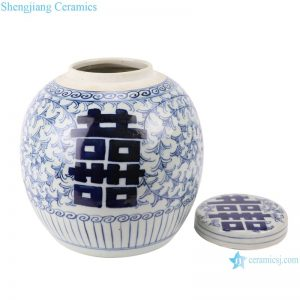 RZFZ01-M jingdezhen ceramics double happy for decoration blue and white porcelain jar