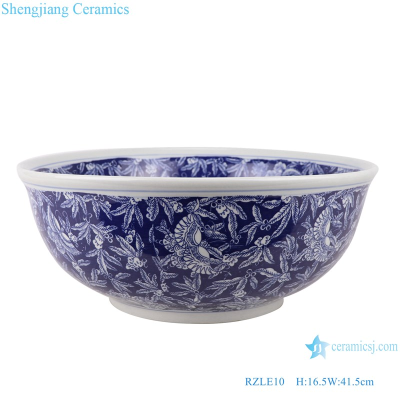 RZLE10 Handmade Blue and white ice plum butterfly ceramic wash sink