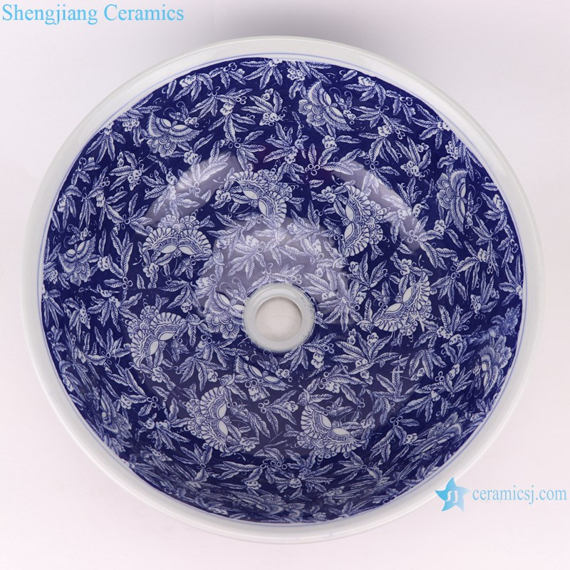 RZLE10 Blue and white ice plum butterfly ceramic wash sink