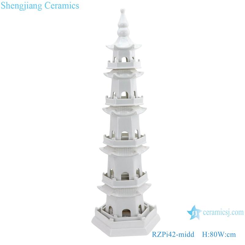 RZPi42-midd Chinese handmade pure white five-story ceramic pagoda