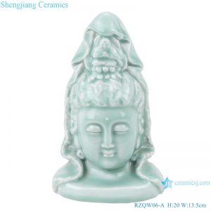 RZQW06-A Shadow green glaze carving of Guanyin Bodhisattva Buddha head statue