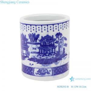 RZRZ02-B_ Jingdezhen Porcelain Factory hand-painted blue and white mountain ceramic pen holderRZRZ02-A_Jingdezhen Porcelain Factory hand-painted blue and white dragon ceramic pen holder