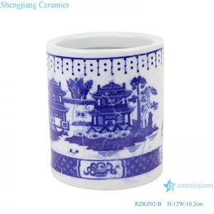 RZRZ02-B_ Jingdezhen Porcelain Factory hand-painted blue and white mountain ceramic pen holderRZRZ02-A_Jingdezhen Porcelain Factory hand-painted blue and white dragon ceramic pen holder