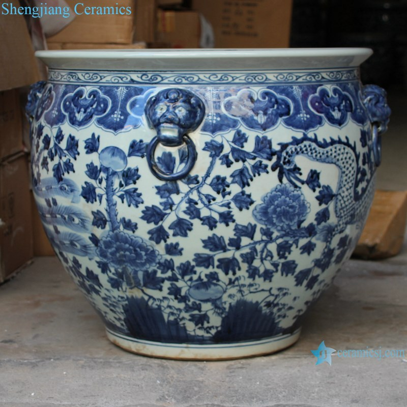 RZSC13-C Blue and white dragon and phoenix design ceramic pot