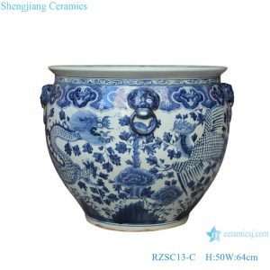 RZSC13-C Handmade Blue and white dragon and phoenix design ceramic big pot