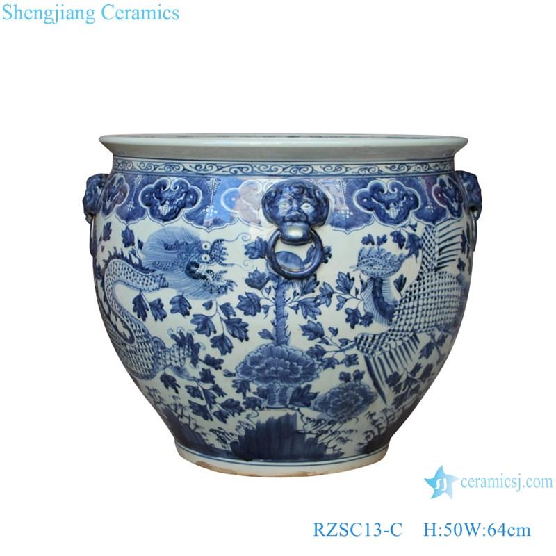RZSC13-C Handmade Blue and white dragon and phoenix design ceramic big pot