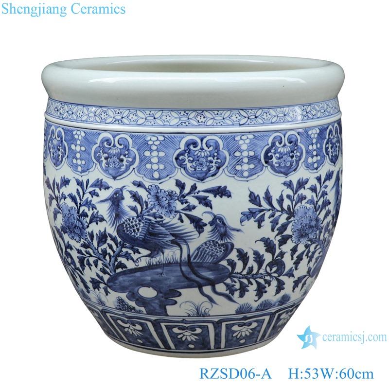 RZSD06-A Jingdezhen handmade blue and white flower birds design ceramic pots