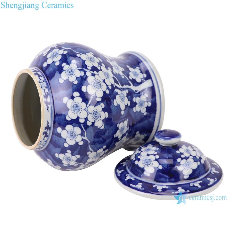 RZSI01 handmade blue and white plum design ceramic ginger jar