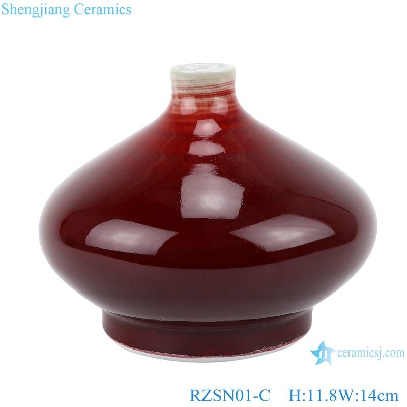 RZSN01-set Chinese handmade color glaze dark red decorative porcelain vase sets