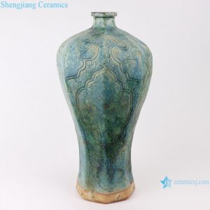 RZSP01 jingdezhen green glazed ceramics for living room decoration antique porcelain vase