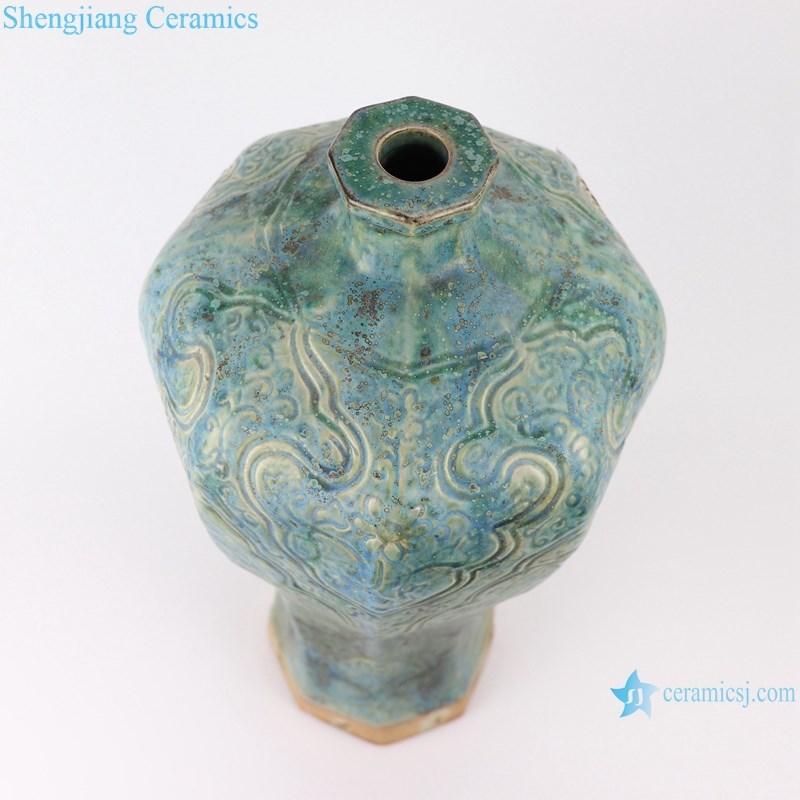 RZSP01 jingdezhen green glazed ceramics for living room decoration antique porcelain vase