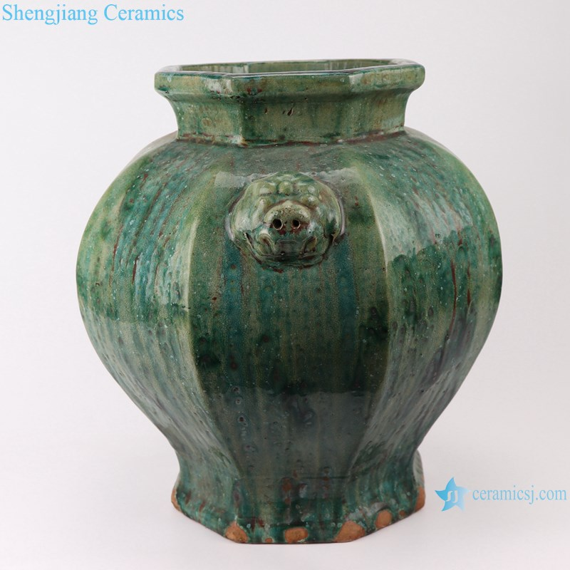 RZSP04 jingdezhen ceramics green color for decoration pot porcelain jar