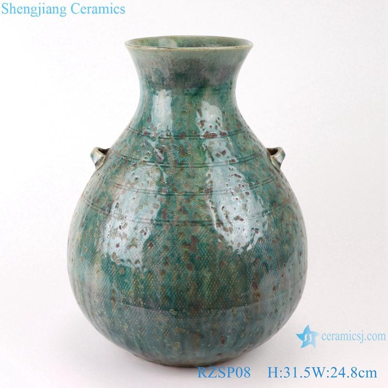 RZSP08 jingdezhen green glazed ceramics for living room decoration antique porcelain vase