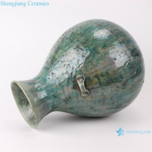 RZSP08 jingdezhen green glazed ceramics for living room decoration antique porcelain vase