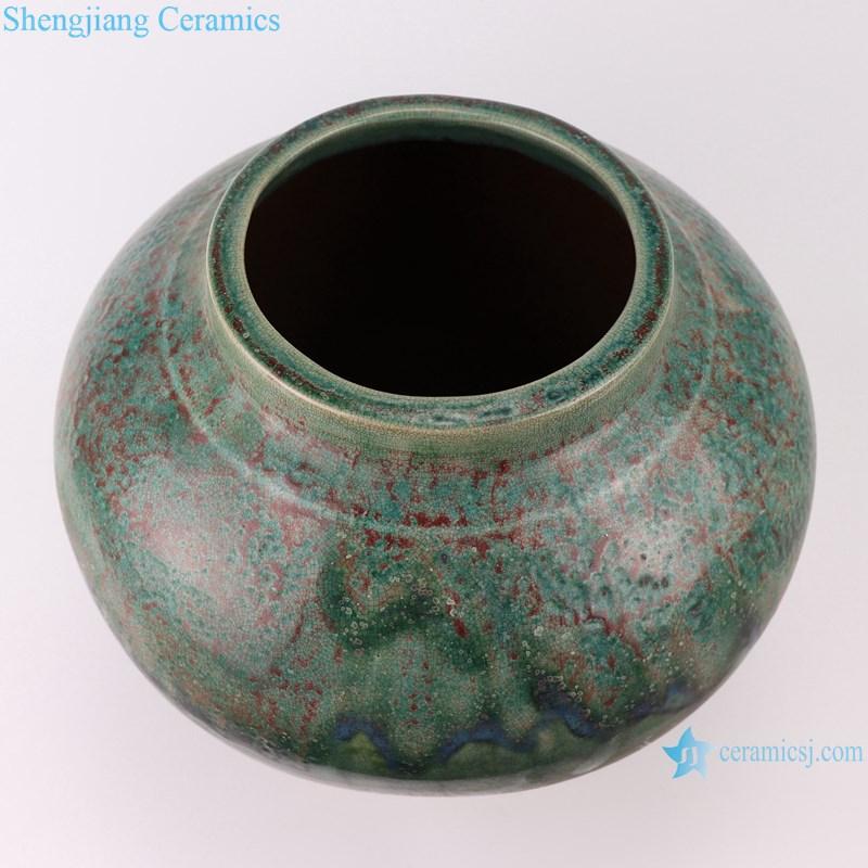 RZSP012 Southeast Asia green glazed ceramic flower home living room table decoration creative decoration dry flower vase