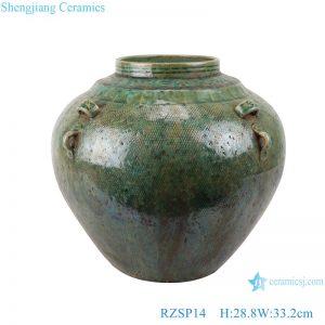 RZSP014 Southeast Asia green glazed ceramic flower home living room table decoration creative decoration dry flower vase