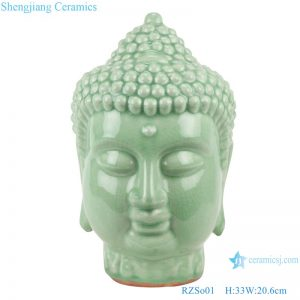 RZSo01 Colorful glaze bean green carving buddha head porcelain statue