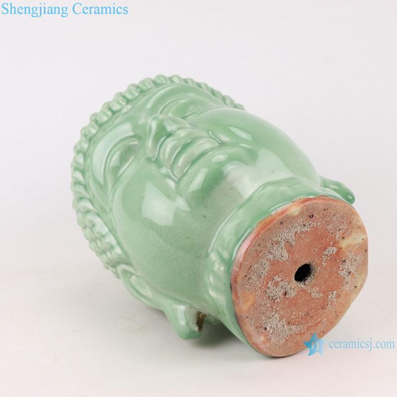 RZSo01 Colorful glaze bean green carving buddha head porcelain statue