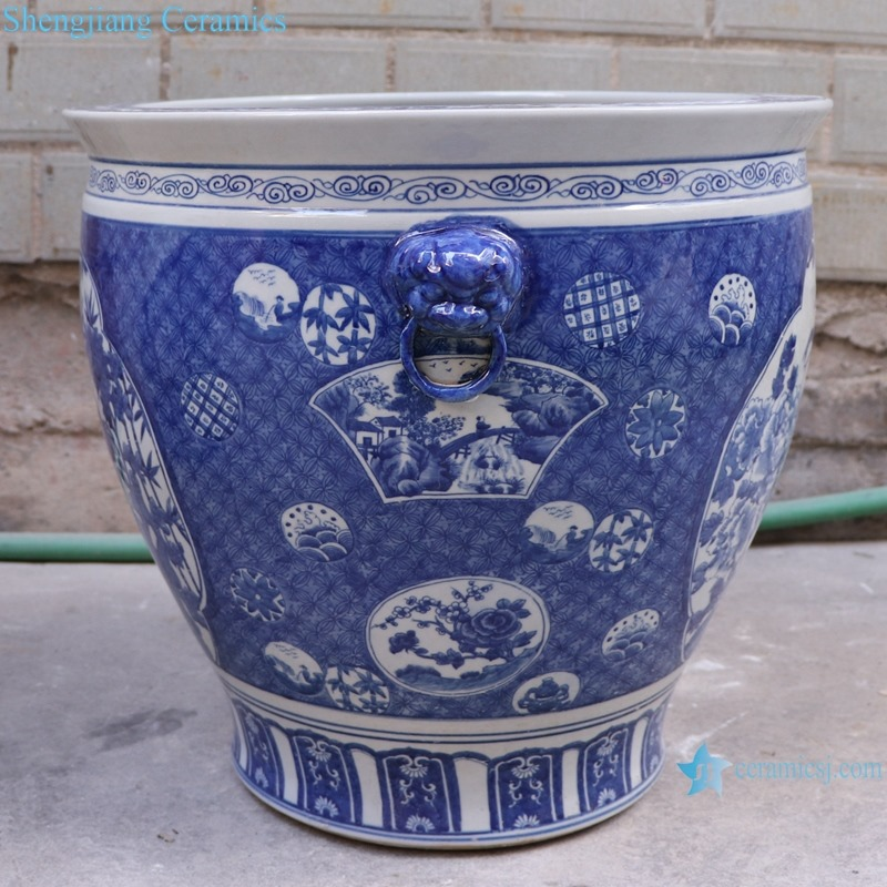 RYLU176-K Blue and white window open lion head big tank of flowers and birds