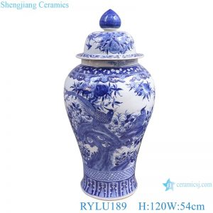 RYLU189 Blue and white flower and bird large general pot