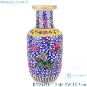RYZG31 blue background Kylin holding the child vase