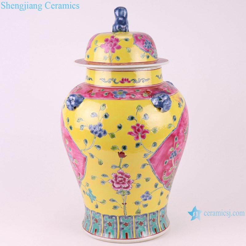 Pastel enamel phoenix lion head pattern yellow bottom ceramic ginger jar-profile