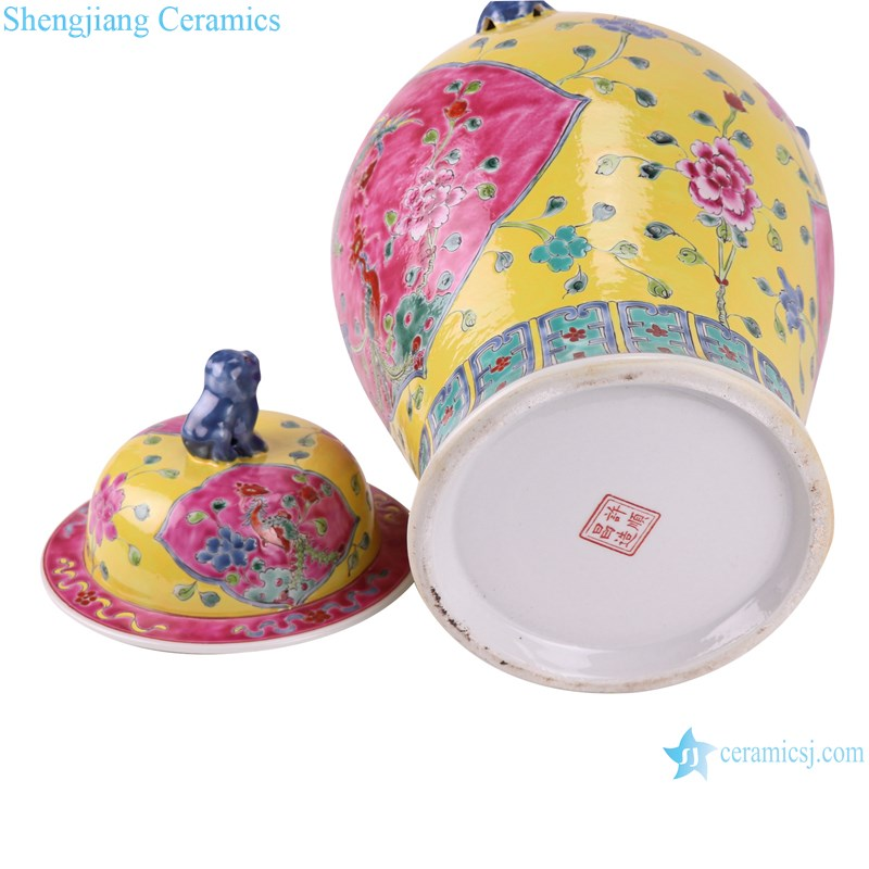 RYZG34-C Pastel enamel phoenix lion head pattern yellow bottom ceramic ginger jar