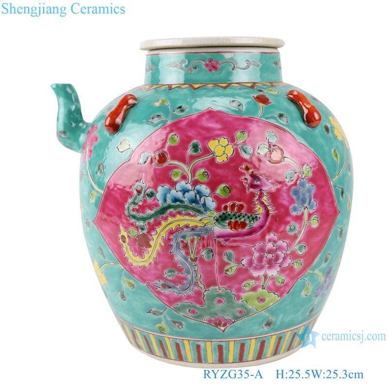 Pastel enamel storage porcelain pot phoenix pattern with lid multi-color background-the main figure