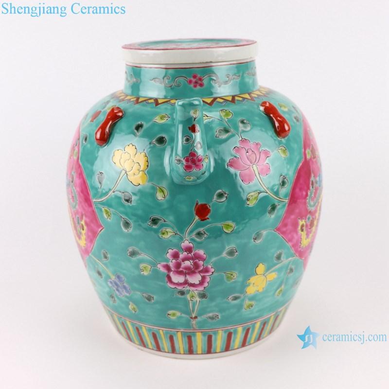 Pastel enamel storage porcelain pot phoenix pattern with lid multi-color background-profile