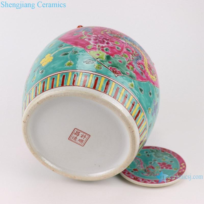 Pastel enamel storage porcelain pot phoenix pattern with lid multi-color background-profile-bottom