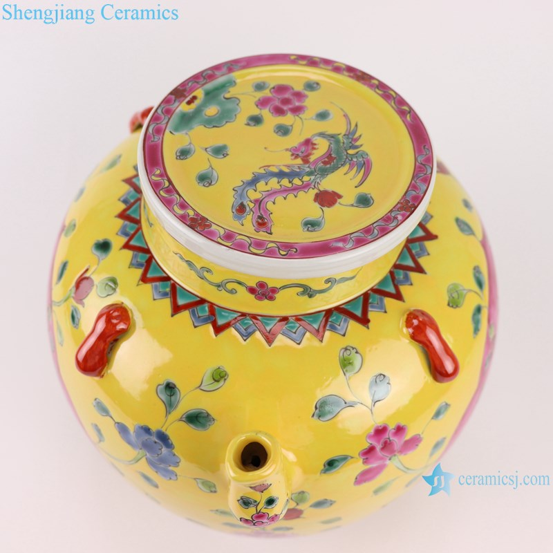 RYZG35-B Pastel enamel storage porcelain pot phoenix pattern with lid multi-color background
