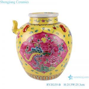 RYZG35-B Pastel enamel storage porcelain pot phoenix pattern with lid multi-color background