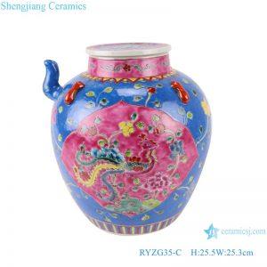 RYZG35-C Pastel enamel storage porcelain pot phoenix pattern with lid multi-color background