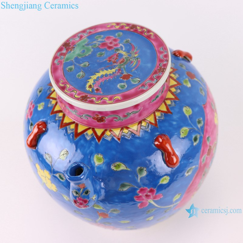 Pastel enamel storage porcelain pot phoenix pattern with lid multi-color background-profile-top