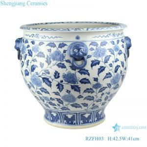 RZFH03-A Blue and white lion head flower tank fish tank water tank