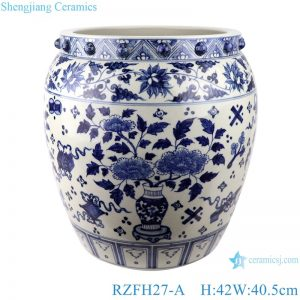 RZFH27-A Blue and white twining lotus bogu grain flowers aquarium aquarium aquarium
