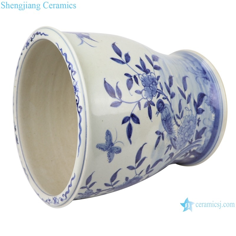 RZFH28 Blue and white flower and bird tall flower pot