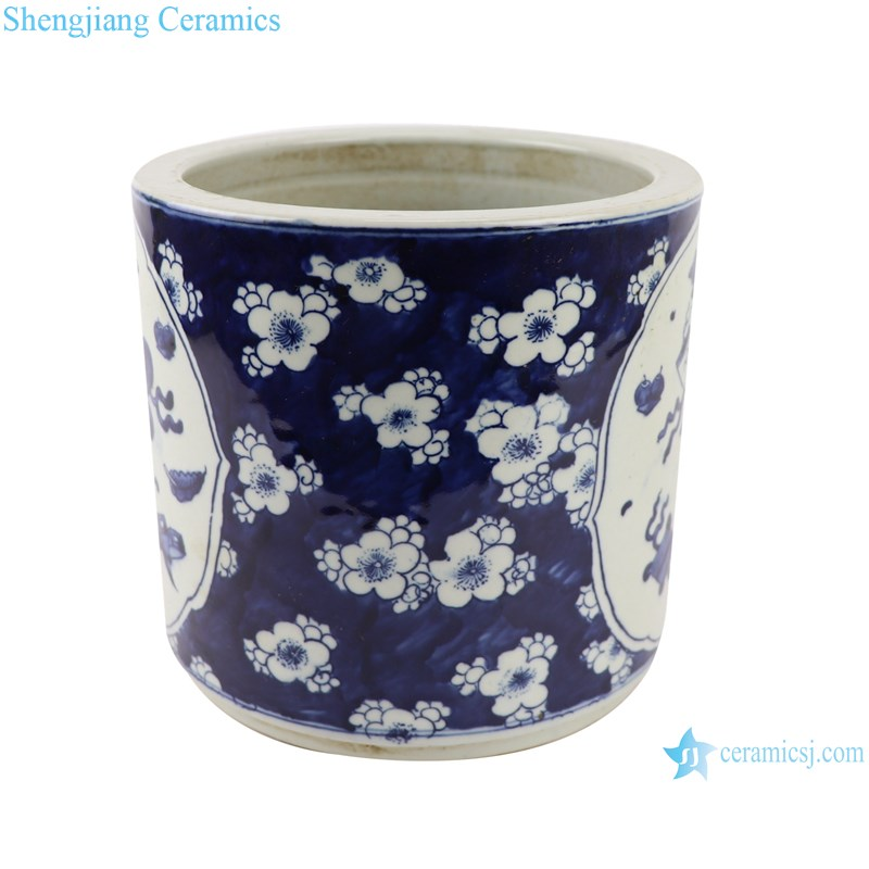 RZGC09-F blue and white ceramic pen holder profile