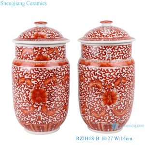 RZIH18-B Alum red lotus flower ceramic tea jar