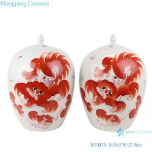 RZIH20 Alum red lion ceramic jar