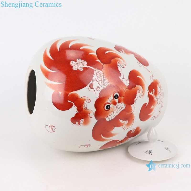 RZIH20 Alum red lion ceramic jar