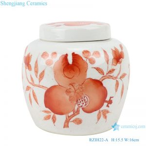 RZIH22-A Alum red pomegranate jar cover jar