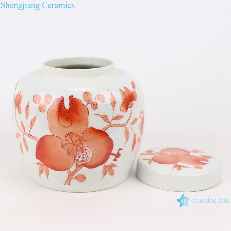 RZIH22-A Alum red pomegranate jar cover jar
