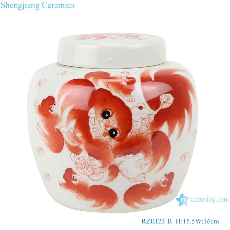 RZIH22-B The alum red lion grain jar cover jar