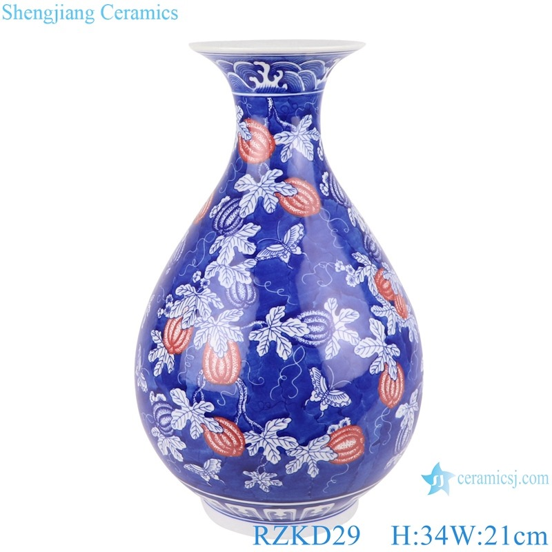 RZKD29 Blue and white ice plum glaze red melon and fruit grain jade jug spring bottle