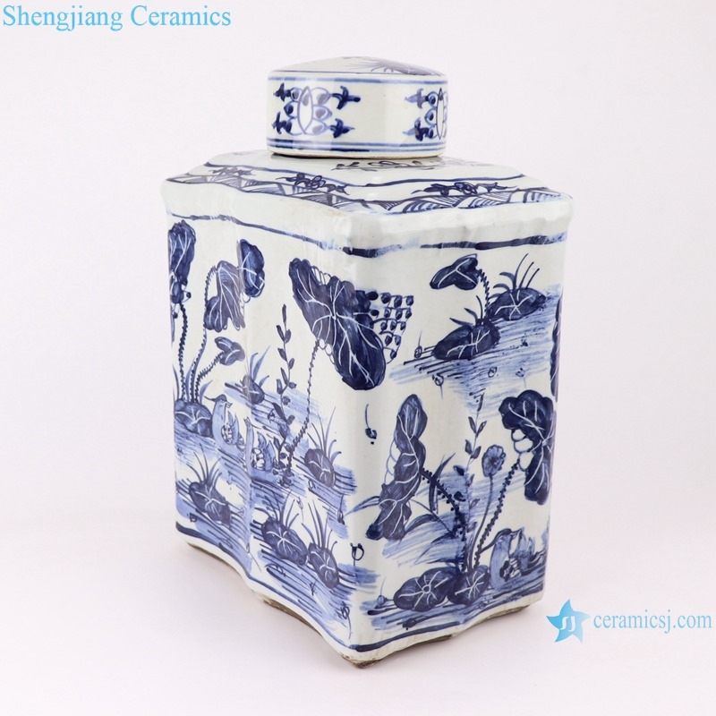RZKJ02-B Blue and white rectangular fish and grass tea jar