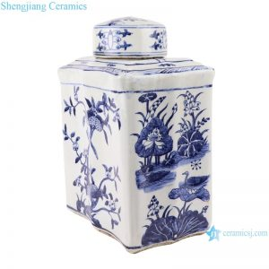 RZKJ02-C Blue and white rectangular peach flat jar